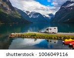 family vacation travel rv ... | Shutterstock . vector #1006049116