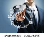 businessman pressing virtual... | Shutterstock . vector #100605346