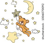 teddy bear flying with star... | Shutterstock .eps vector #1006070092