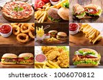 collage of various fast food... | Shutterstock . vector #1006070812