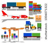 freight cargo transport icons... | Shutterstock .eps vector #1006071322