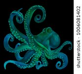 blue watercolor octopus. sea... | Shutterstock . vector #1006081402