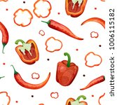 seamless pattern with red... | Shutterstock . vector #1006115182
