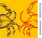 Blue Crabs On Yellow Background