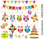 set of vector birthday party... | Shutterstock .eps vector #100613386