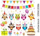 set of vector birthday party... | Shutterstock .eps vector #100613386