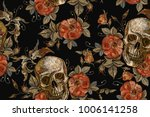 Stock vector embroidery vintage skull and roses seamless pattern gothic romanntic embroidery human skulls red 1006141258