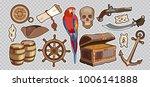 treasure chest parrot steering... | Shutterstock .eps vector #1006141888
