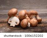 fresh mushrooms champignons on... | Shutterstock . vector #1006152202