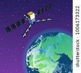 gps satellite orbiting earth in ... | Shutterstock .eps vector #1006173322