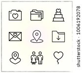 valentine's day line icons set... | Shutterstock .eps vector #1006192078