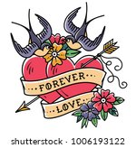 tattoo art. tattoo two hearts... | Shutterstock .eps vector #1006193122