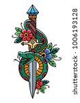 vector tattoo dagger with green ... | Shutterstock .eps vector #1006193128
