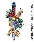 vector tattoo dagger with... | Shutterstock .eps vector #1006193152