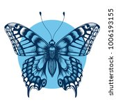 tattoo butterfly in blue circle ... | Shutterstock .eps vector #1006193155