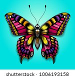 Stock vector beautiful colorful butterfly on blue background bright tattoo for your back tropical realistic 1006193158