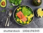salmon and mango salad on the... | Shutterstock . vector #1006196545