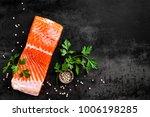 fresh salmon fish fillet on... | Shutterstock . vector #1006198285