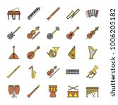musical instruments color icons ... | Shutterstock .eps vector #1006205182