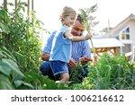 granddaughter is picking up...   Shutterstock . vector #1006216612