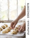 raw unbaked buns. ready to bake ... | Shutterstock . vector #1006220878
