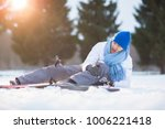 young skier screaming and... | Shutterstock . vector #1006221418