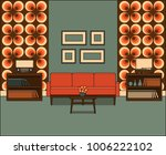 retro living room in line art.... | Shutterstock .eps vector #1006222102