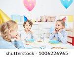 cute little friends in birthday ... | Shutterstock . vector #1006226965