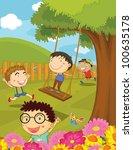 illustration of children... | Shutterstock . vector #100635178
