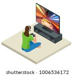 isometric young woman plays... | Shutterstock .eps vector #1006536172
