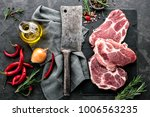 fresh steaks from raw pork meat ... | Shutterstock . vector #1006563235