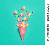 ice cream cone with gummy... | Shutterstock . vector #1006566226