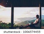 young male traveler sending... | Shutterstock . vector #1006574455