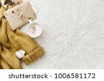 cup of coffee  warm sweater and ... | Shutterstock . vector #1006581172