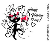valentine day cat in hearts | Shutterstock .eps vector #1006587802