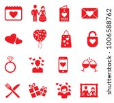 valentines day icons. red flat... | Shutterstock .eps vector #1006588762