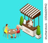 street cafe concept. couple in... | Shutterstock .eps vector #1006600942