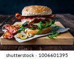 burger with bacon and fried... | Shutterstock . vector #1006601395
