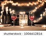 romantic fine dinning setting.  | Shutterstock . vector #1006612816