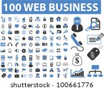 100 web business icons set ...