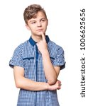 Small photo of Casual thinking guy - caucasian male model. Half-length emotional portrait of teen boy. Thoughtful teenager, isolated on white background. Handsome smart serious ponder child.