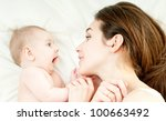 happy mother with baby | Shutterstock . vector #100663492