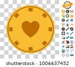 heart casino chip pictograph...