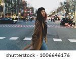 a young attractive girl crosses ...   Shutterstock . vector #1006646176