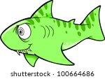 Crazy Shark Vector Illustration - stock vector