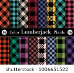 set lumberjack plaid pattern in ... | Shutterstock .eps vector #1006651522