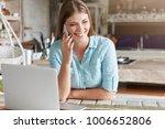 attractive glad woman talks...   Shutterstock . vector #1006652806