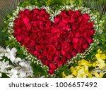 shape heart red roses flower... | Shutterstock . vector #1006657492
