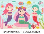 mermaids comb and decorate...   Shutterstock .eps vector #1006660825