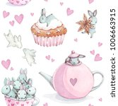 Stock photo cute bunny seamless pattern with rabbit watercolor background 1006663915